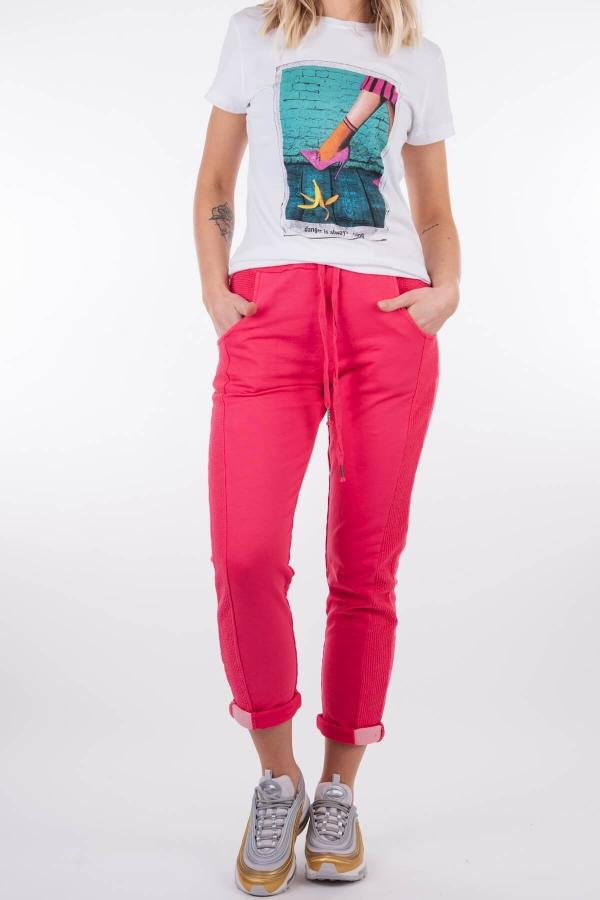 Spodnie dresowe malinowy róż
